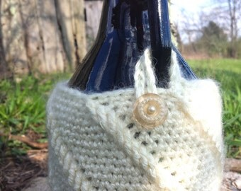 SALE PRICE -- Crocheted Beer Growler Cover/Cozy -- Pearl
