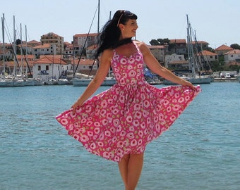 Pinup dress 'Pink Joy', PLUS SIZE AVAILABLE, floral rockabilly dress, roses, pink,