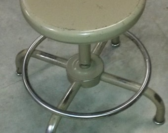 VINTAGE METAL STOOL, Ajustrite Stool, All Steel Stool, Bar Stool, Drafting Stool, Metal Seating, Swivel Stool, Adjustable Stool