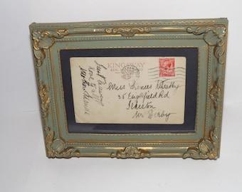 vintage framed postcard in hand painted frame.