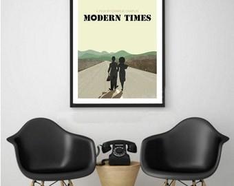 Modern Times, Charlie Chaplin, Paulette Goddard, Minimal Movie Poster.