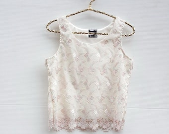 women lace fabric top tanks