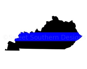 Kentucky thin blue line police SVG instant download design for cricut or silhouette