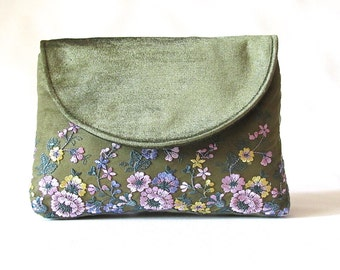Army Green Wedding Clutch, Velvet bridal clutch, lace bridesmaid clutch, lilac floral lace clutch purse,  wedding gift