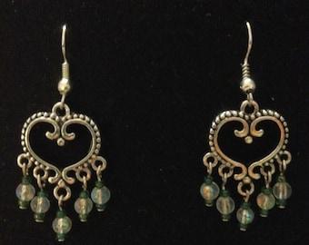 Heart earring green/red