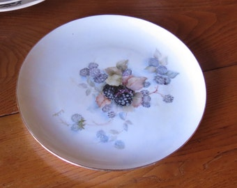 Sweet Handpainted Plate with Blackberry Motif