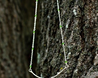 Twig and Jade Sterling Silver Necklace 925 Organic Cast Tree Twig Jewelry