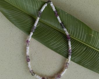 Hawaiian pukashell and amethyst necklace.Handmade in hawaii on the beautiful north shore of oahu.