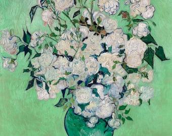 Vincent van Gogh 1890, Roses, HD Canvas Print or Art Print, Artwork Wall Poster Impressionism Print on Canvas Van Gogh White Roses Rose