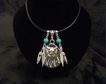 Native American Indian Style Bear Paw & Turquoise Necklace