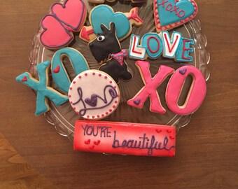 Valentine sugar cookies- 12 count