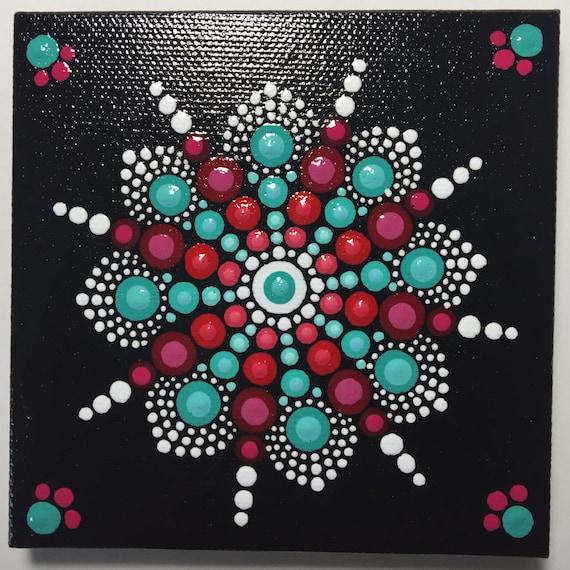Hand Painted Mandala On Canvas Mandala Meditation Dot Art