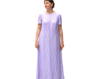 Vintage 1960s mauve lace full length dress