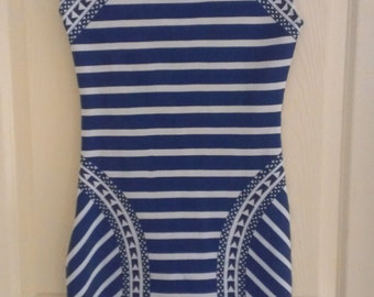 Reverse by Urban Outfitters White & Blue Stripe Spike Rock Dress Size S