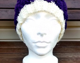 Adult Tuque with pompon mauve and cream hand-knitted