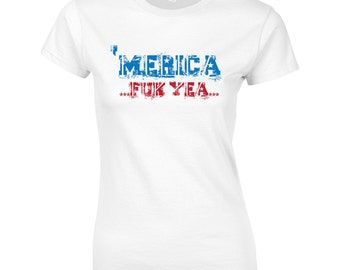 Merica usa america pride veteran support the troops fourth of july memorial day vintage retro - Apparel Clothing - womens T-shirt - 342