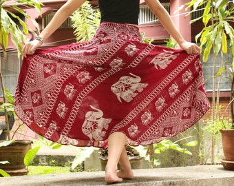 Red Skirt Thai Elephant Skirt Thai Harem Skirt Thai Hippie Skirt Thai Boho Skirt Thai Bohemian Skirt Thai Gypsy Skirt
