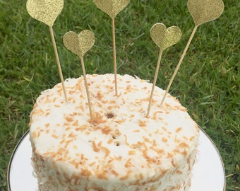 Gold Glitter Heart Cake Topper Bridal Shower Cake Topper Girls Birthday Party Wedding Cake Decorations Gold Glitter Party Supplies