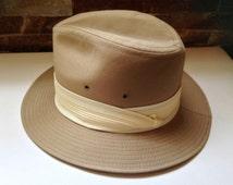Vintage Fedora Hat - 1940s / 1950s Dobbs Fifth Avenue New York - Size 6 7/8 Tan, Light Brown, camel, Mens hat