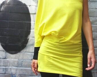 Asymmetric Off the Shoulder Yellow-Black Women's Tunic/One Shoulder Artistic Colorblock Blouse/Designer Unique Women Shirt