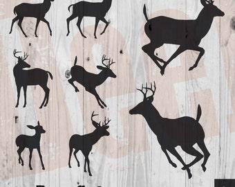 Deer Silhouette Vectors - clipart