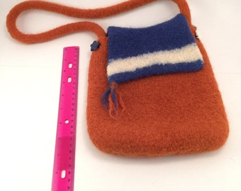 Knitted and felted wool handbag