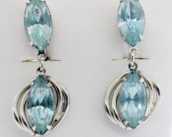Vintage Aquamarine Rhinestone Dangle Earrings Silver Tone Screw Back