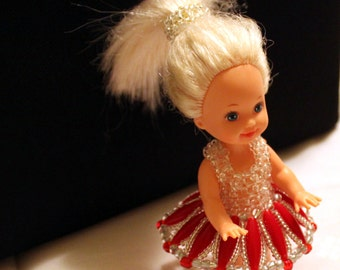 White-red beaded dress with hair-accessory for cute doll (comes with doll); cute, handmade, beadweaving, Art&collectibles, Dolls-miniatures