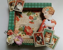 Raining Cats and Dogs Graphic 45 Decoupaged Wooden Picture Frame, Table Top Frame, pets, petslover
