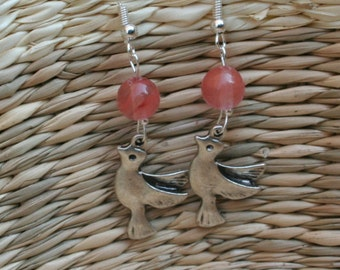 Pink Tourmaline Love Dove Earings With Drawn Over Earhooks