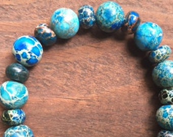 Marbled blue ceramic bead bracelet