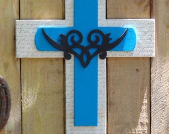 Turquoise Wood Cross