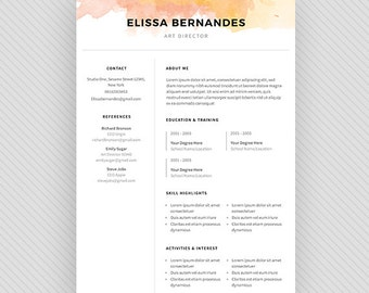 "Resume Template / CV Template + Cover Letter for MS Word and Photoshop | Instant Digital Download - ""Angetenar"""