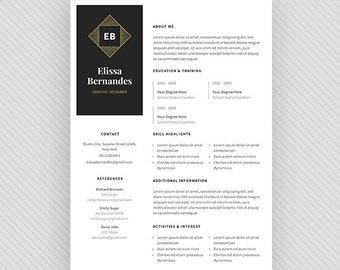 "Resume Template / CV Template + Cover Letter for MS Word and Photoshop | Instant Digital Download - ""Orion"""