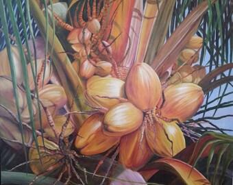Coconut Tree - Original Oil Painting