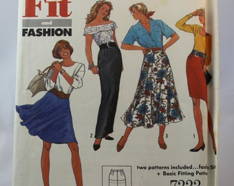 Simplicity 7333 Vintage Sewing Pattern for Slim and Flared Skirts / Misses Sizes 12-18 / Fit and Fashion / Women's Clothing  Patterns