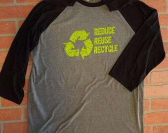 Recycle Logo Raglan Three Quarter Sleeve Baseball T-Shirt/Reduce Reuse Recycle TShirt/Environmental TShirt/Save the Planet/Going Green