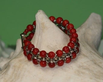 Coral and Chain Mail Bracelet