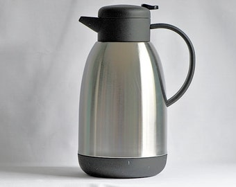 Vintage Thermal Coffee Beverage Carafe Serving Jug / 76 oz. Thermal Coffee Carafe  / Silver & Black Thermal Beverage Pitcher Carafe