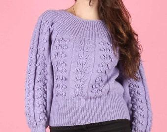 80s Vintage Lilac Grape Bauble Pom Pom Knit