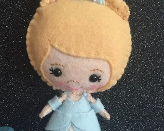 Handmade, Merino wool felt Cinderella Blonde Princess Plush Doll