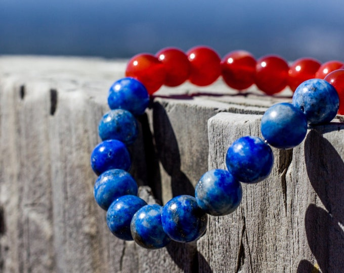 8mm Lapis Lazuli & Carnelian Bracelet Healing Crystal Natural Stone Healing Jewelry Positive energy