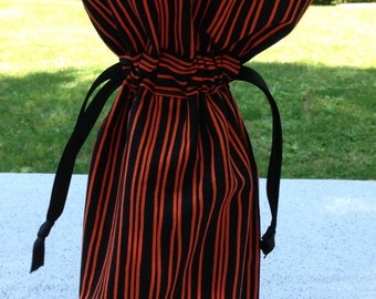 Black and Orange Stripe Fabric Wine Bag