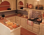 112th Dolls House Small U Shaped Fitted Kitchen with Stove Hood