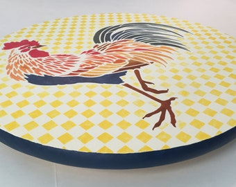 Lazy Susan with colorful red orange yellow blue green rooster on yellow and white checks gingham