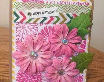 Happy Birthday - Pink Flowers
