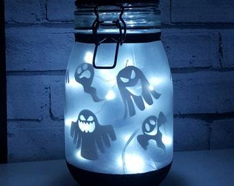 Halloween Ghost lantern, Night light, mood lighting, fairy lights, lamp, large jars perfect halloween decoration