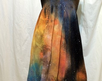Women's Strapless Gathered Smock Dress, Galaxy Dress, Small