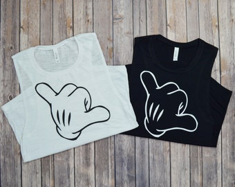 Mickey Hang Loose Muscle Tank: Women's Disney Mickey Mouse Glove Shaka Sign Hand Tank Top Shirt- 3 Colors Available