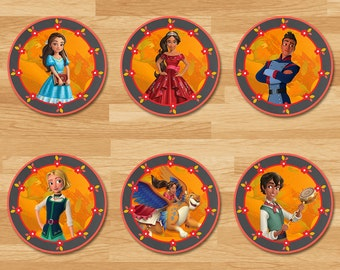 Elena of Avalor Cupcake Toppers - Chalkboard - Elena Stickers - Disney Princess Toppers - Princess Elena Printables - Elena of Avalor Party